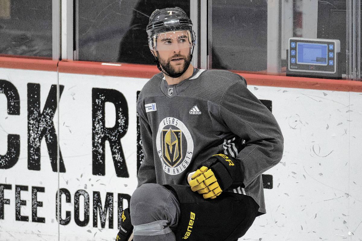 Golden Knights defenseman Alex Pietrangelo (7). (Benjamin Hager/Las Vegas Review-Journal)