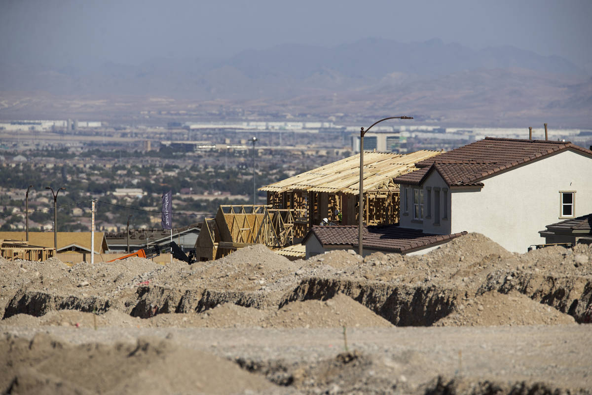 Homes under construction in the Skye Canyon Master Planned Community in Las Vegas, Friday, Aug. ...