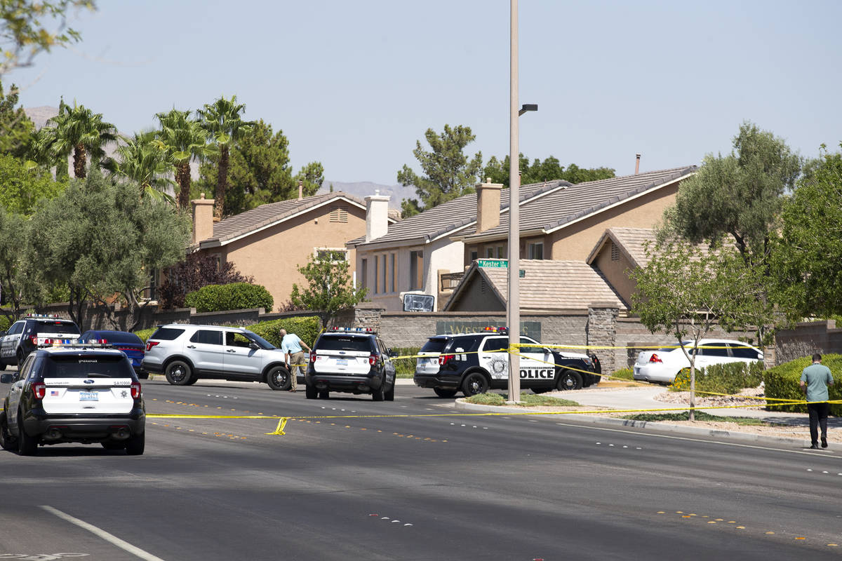 Metropolitan police investigate a homicide in the 10000 block of Kenton Place on Friday, Aug. 2 ...