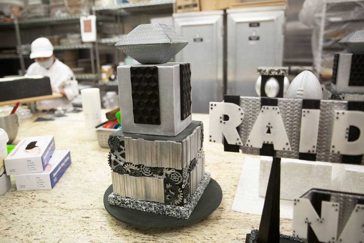 A cake that will be part of a Raiders-themed display at ARIA Patisserie is in the kitchen at Ar ...