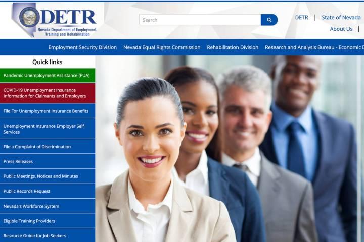 A screenshot of Nevada Department of Employment, Training and Rehabilitation's website. UI clai ...