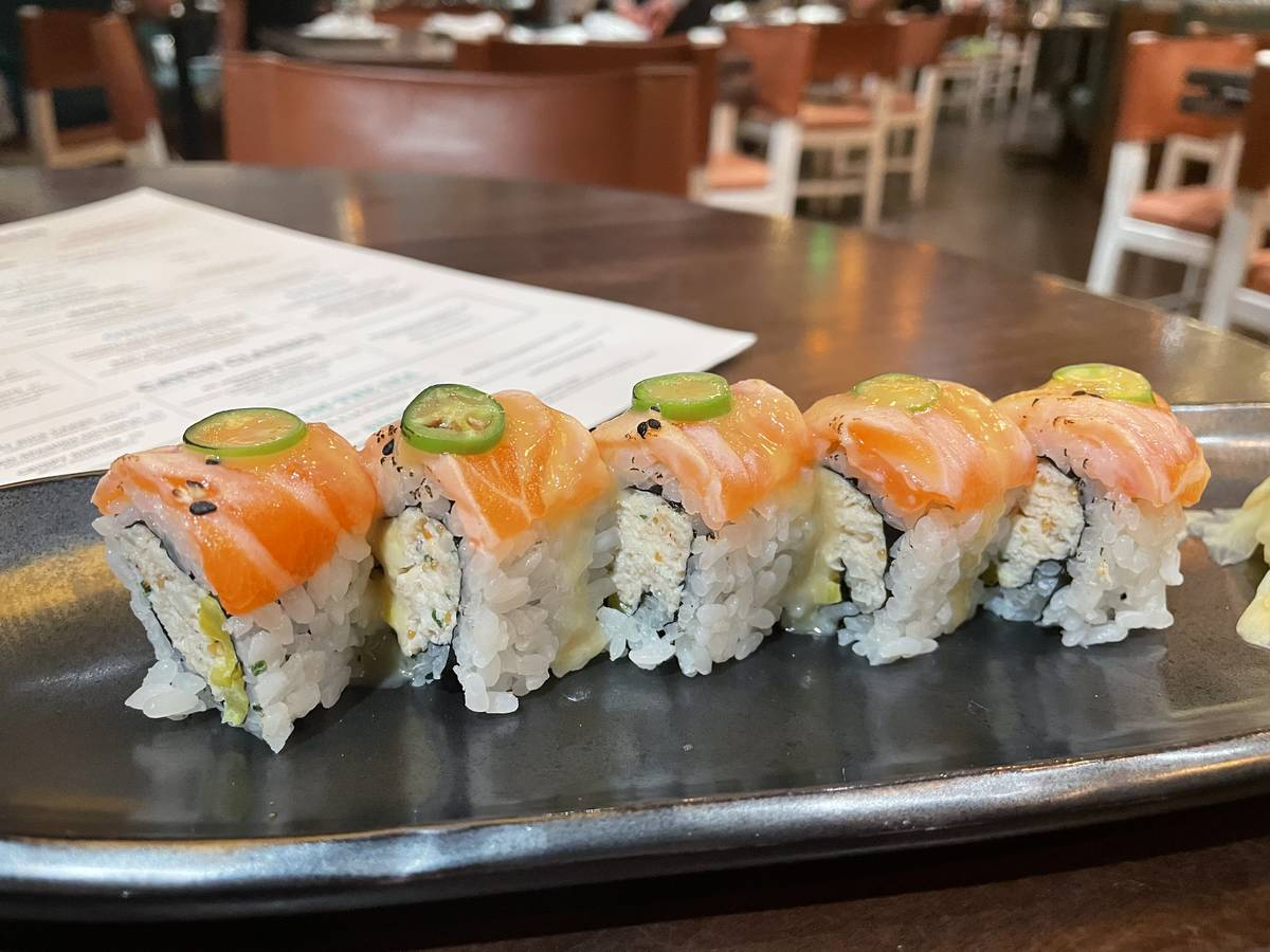 CATCH Roll with crab, salmon and miso honey at CATCH brunch at ARIA Resort (Janna Karel Las Veg ...