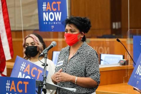 Assemblywoman Susie Martinez, D-Las Vegas, addresses the media at North Las Vegas City Hall in ...