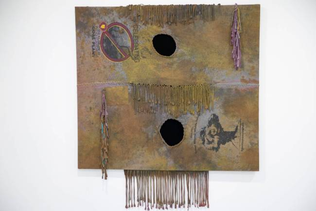 An art piece by Fawn Douglas entitled, Nuwuvi: Our Bodies, Our Lands, is seen at the Nuwu Art a ...