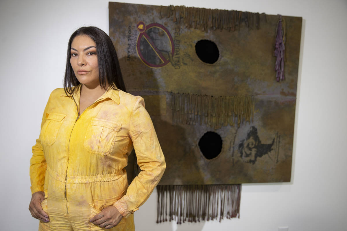 Fawn Douglas, curator for the Ah-wah-nee Exhibition and Symposium at the Donna Beam Fine Art Ga ...
