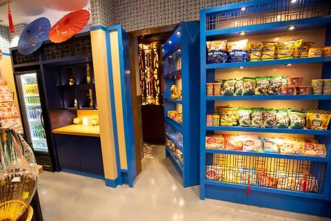 The entrance to the Resorts World Las Vegas speakeasy Here Kitty Kitty Vice Den, in Las Vegas, ...