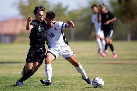 Palo Verde's Elad Cohen (8) competes for the ball with Liberty's Carmelo Gullotta (18) during t ...