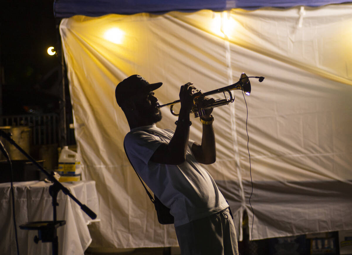 Fendi Sean performs during First Friday in the Arts District of downtown Las Vegas on Friday, A ...