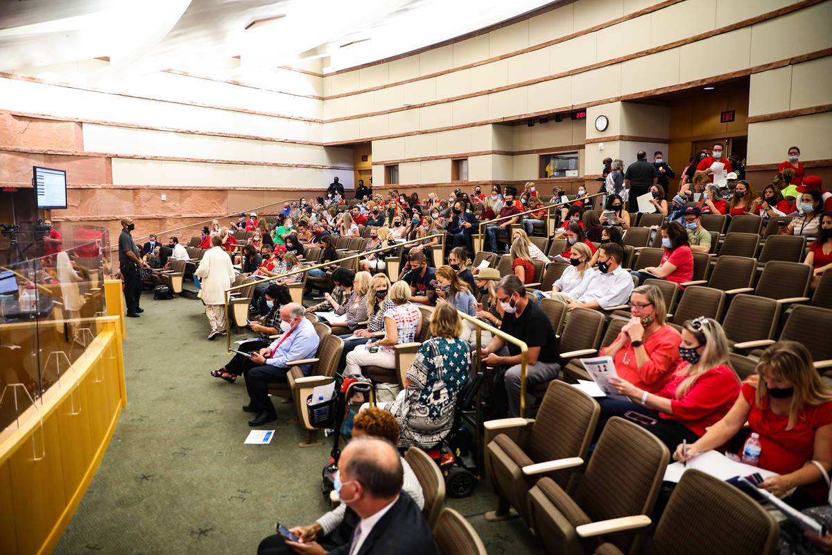 Concerned citizens fill the room for a Clark County School Board meeting regarding the possible ...