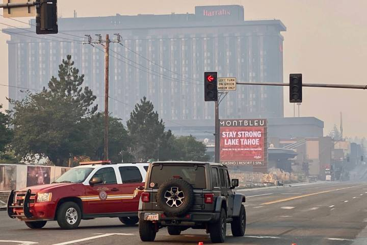 Harrah's Lake Tahoe is seen in Stateline, Nev., as smoke from the Caldor Fire fills the air, We ...