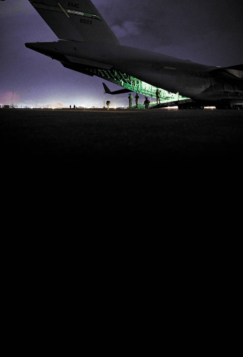 In this Aug. 30, 2021, photo provided by the U.S. Air Force, a Air Force aircrew, assigned to t ...