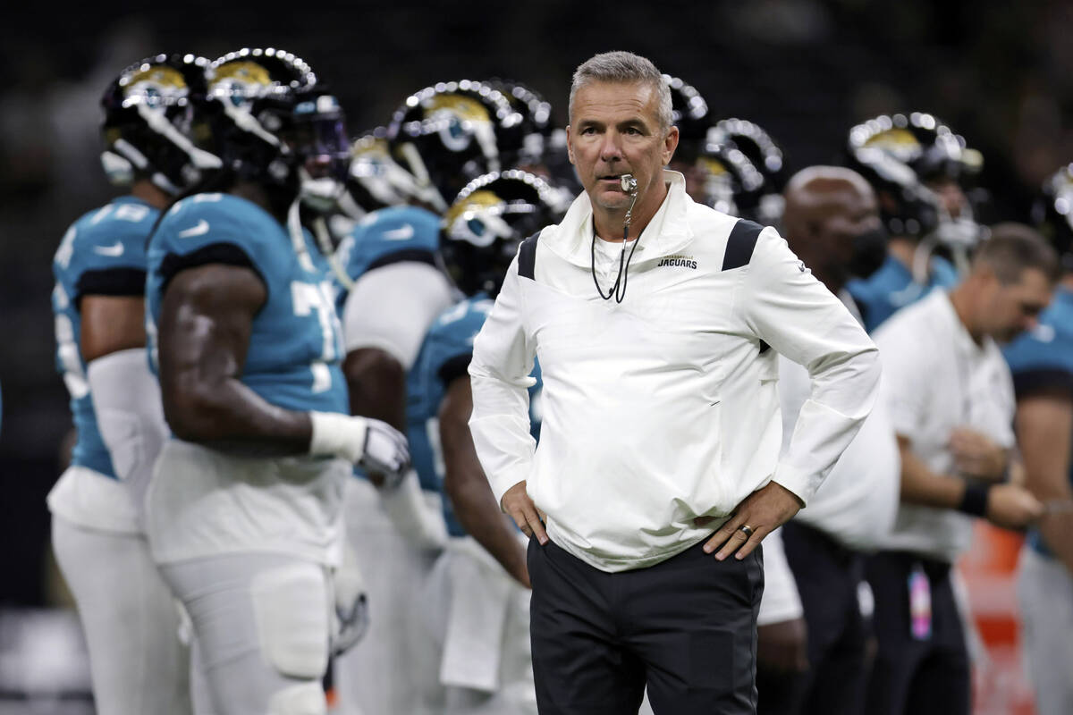 FILE - In this Monday, Aug. 23, 2021, file photo, Jacksonville Jaguars head coach Urban Meyer w ...
