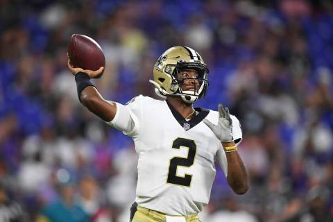 New Orleans Saints quarterback Jameis Winston (2) throws a pass during the second quarter of an ...