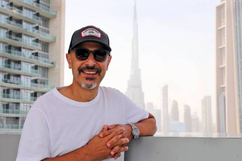 Stand-up comedian Maz Jobrani poses in Dubai, United Arab Emirates, Tuesday, May 25, 2021. He h ...