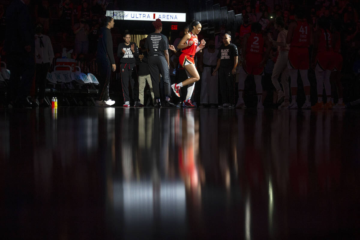 Las Vegas Aces forward A'ja Wilson (22) dances as the starting lineup is announced before an WN ...