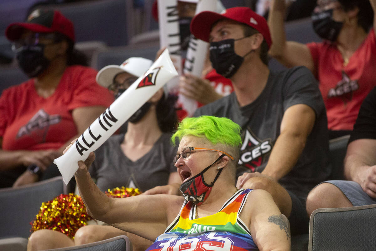 Las Vegas Aces cheer on their team during the first half of a WNBA game against the Chicago Sky ...