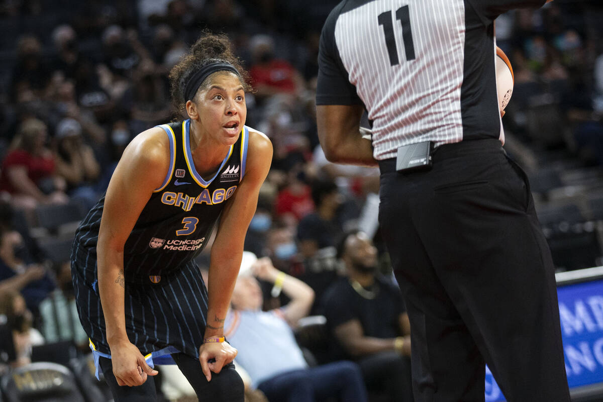 Chicago Sky forward/center Candace Parker (3) has a disagreement with a referee during the seco ...