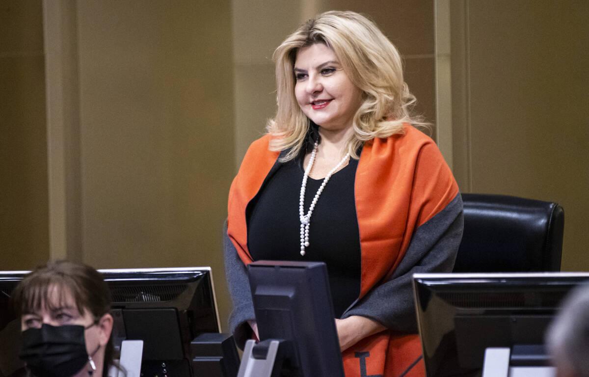 Las Vegas City Councilwoman Michele Fiore stands for invocation during a Las Vegas City Council ...