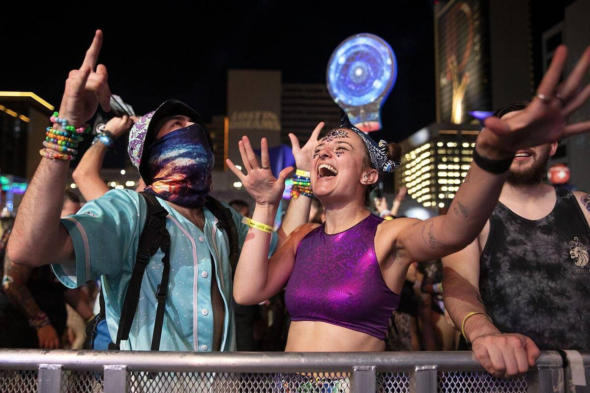 Chase Edwards, left, and Mads Farmer, dance to Kaivon's set during the Lost in Dreams music fes ...