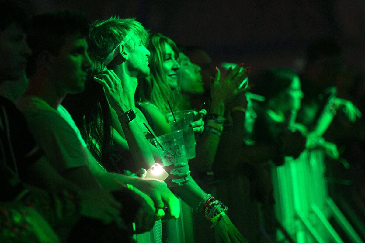 Fans enjoy Kavion's set during the Lost in Dreams music festival at the Downtown Las Vegas Even ...