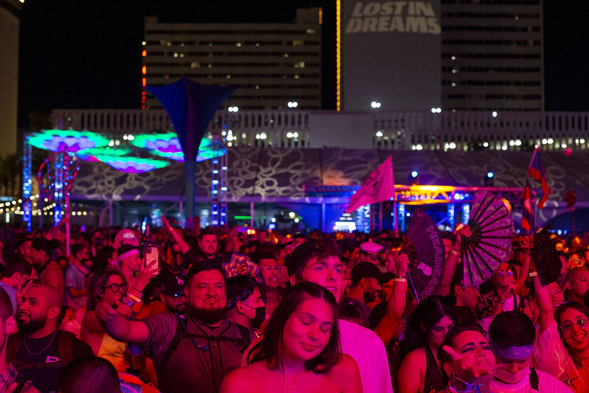 The crowd dances to Kavion's set during the Lost in Dreams music festival at the Downtown Las V ...