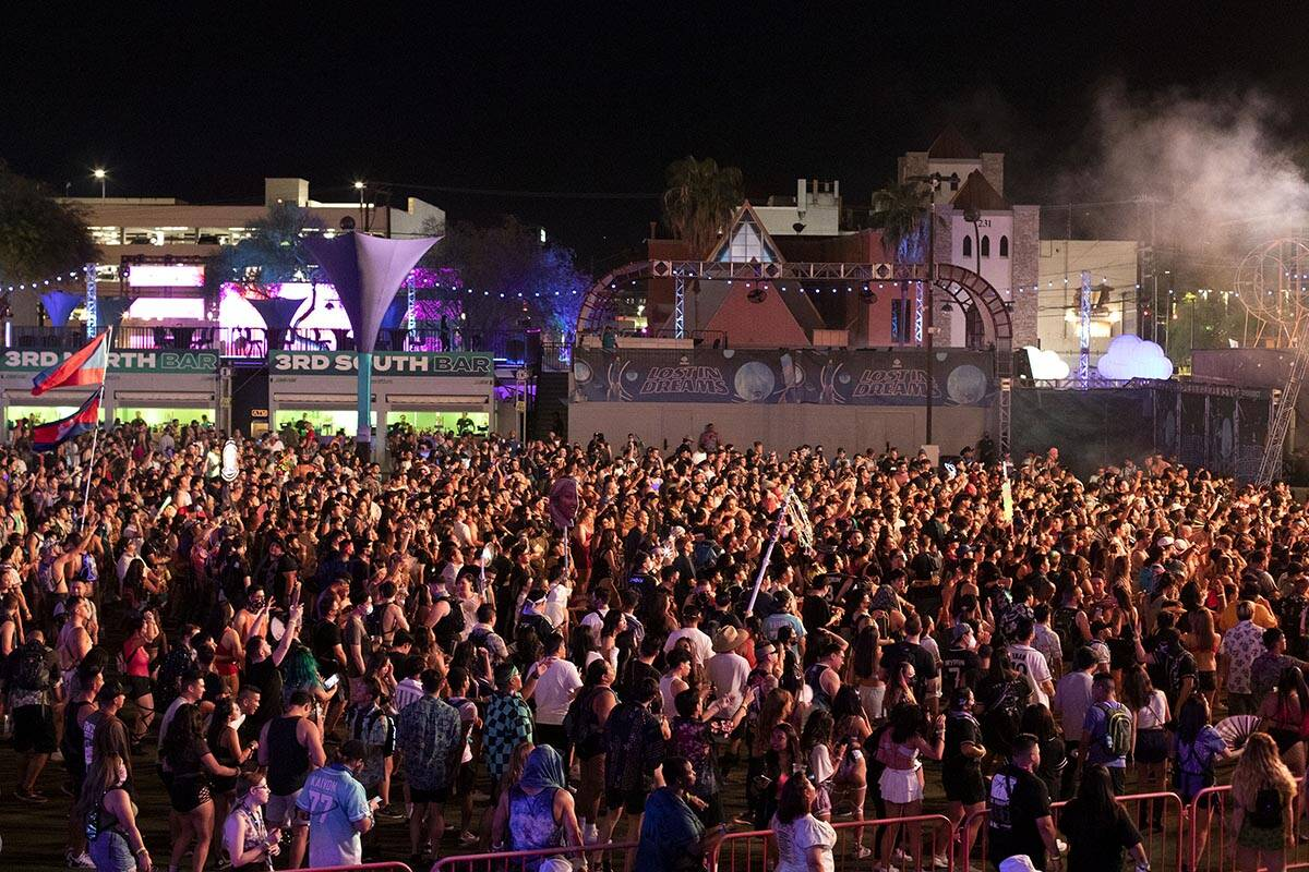 The space is filled with fans for Crystal Skies' set during the Lost in Dreams music festival a ...