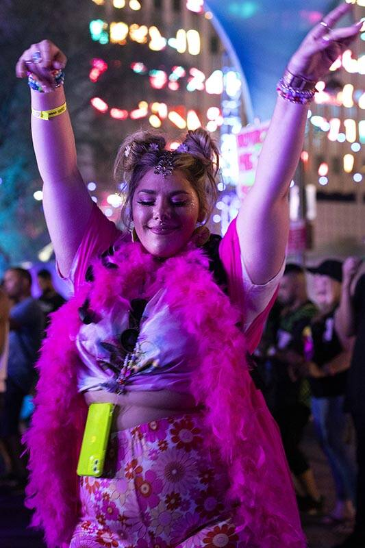 Taia Lemay, of Las Vegas, dances to Pluko's set during the Lost in Dreams music festival at the ...
