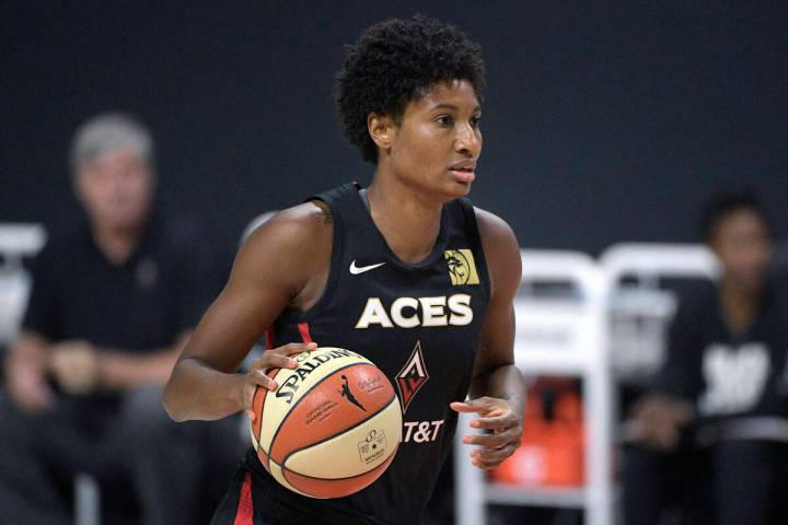 Las Vegas Aces forward Angel McCoughtry sets up a play during the first half of Game 5 of a WNB ...