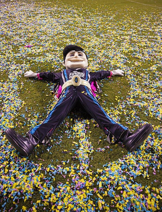 """Cash the Soccer Rocker baths in confetti at the end of the annual """"$5,000 Cash Drop pre ..."""