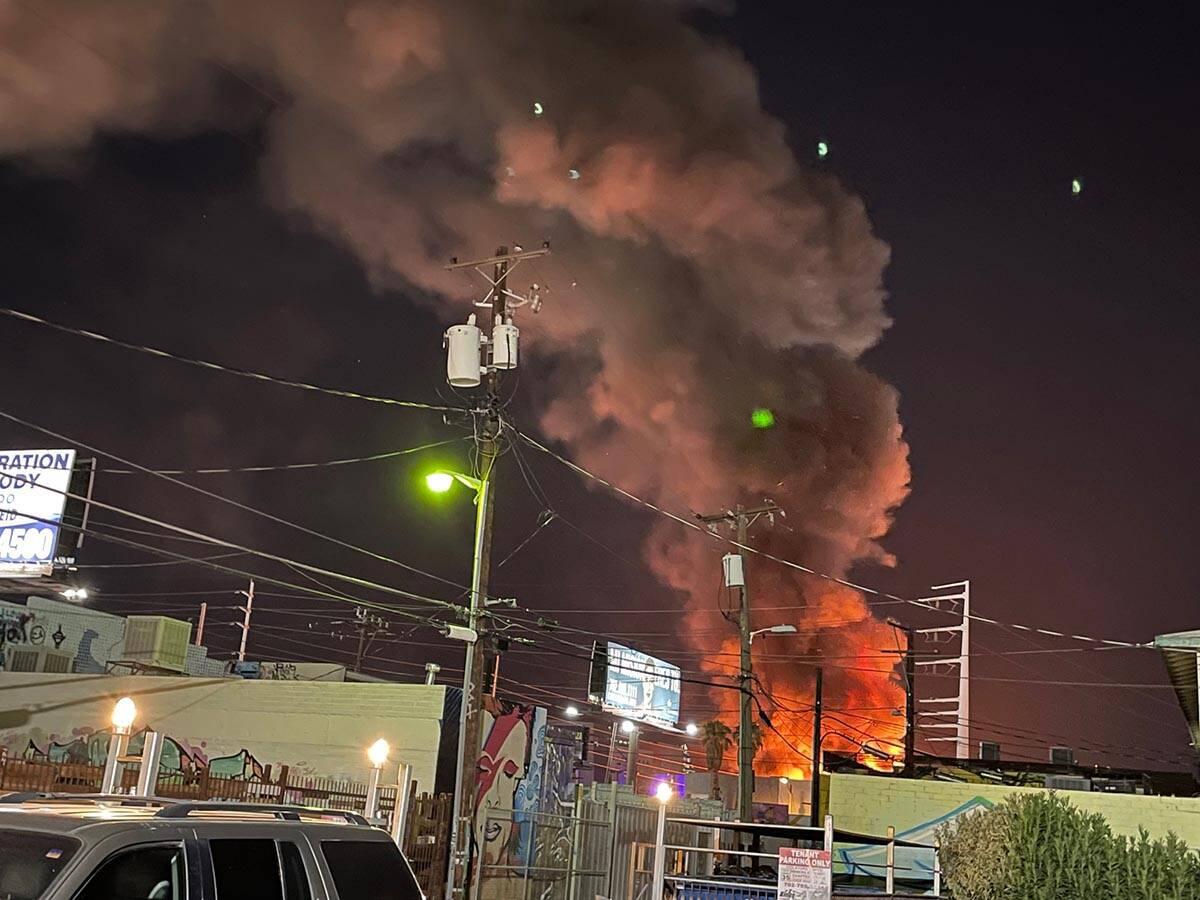 A fire erupts near Charleston Boulevard and Main Street on Sunday, Sept. 5, 2021. (Rhonda Prast ...