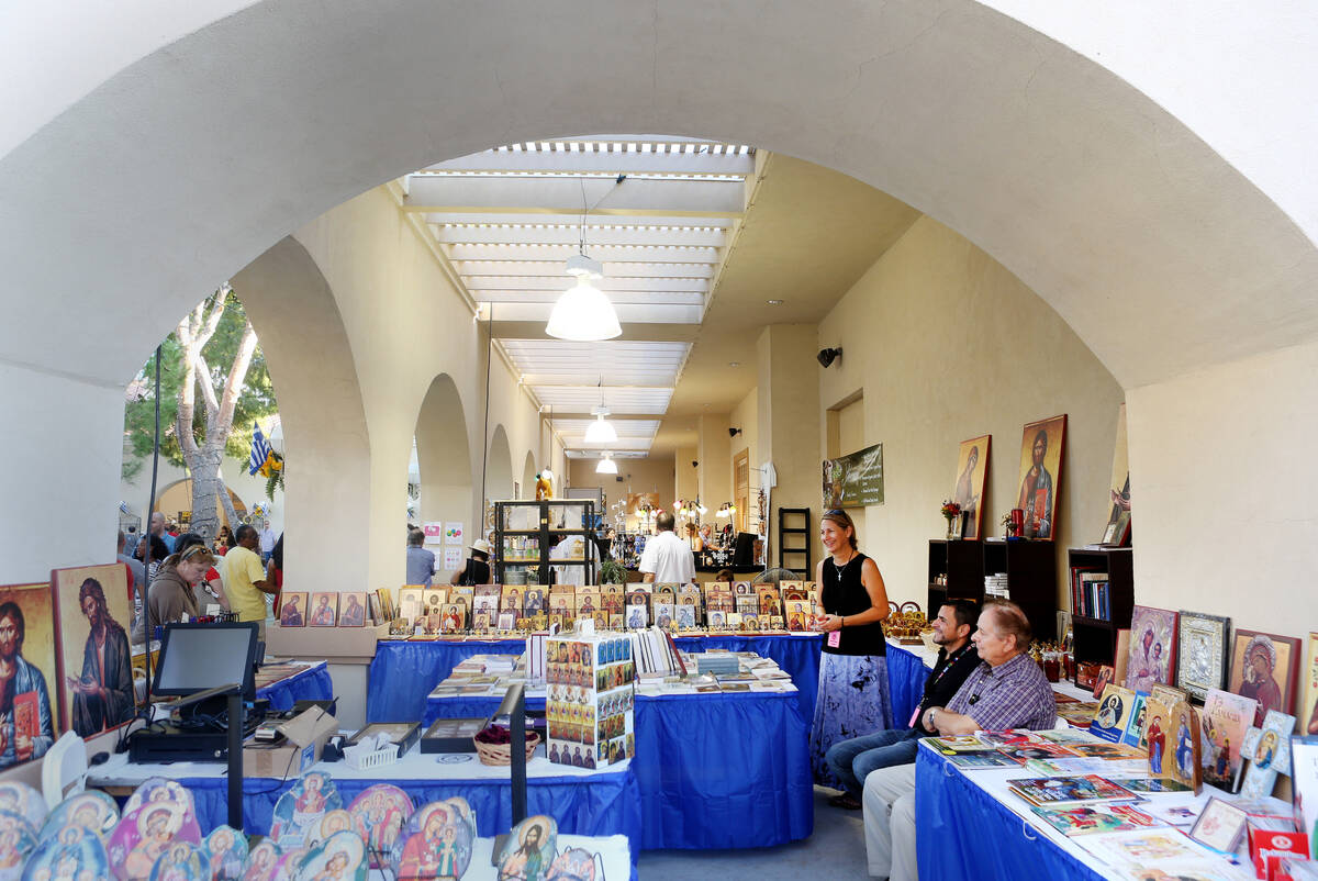 Gifts and art booths during the 45th annual Greek Food Fest at St. John the Baptist Greek Ortho ...