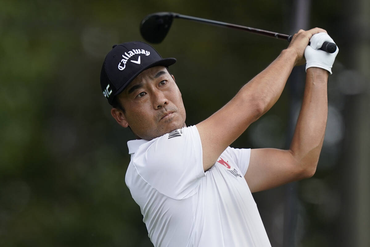 Kevin Na hits from the tee box on the third hole during the final round of play in the Tour Cha ...