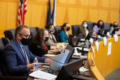 Clark County School District Superintendent Jesus Jara speaks during a Board of Trustees meetin ...