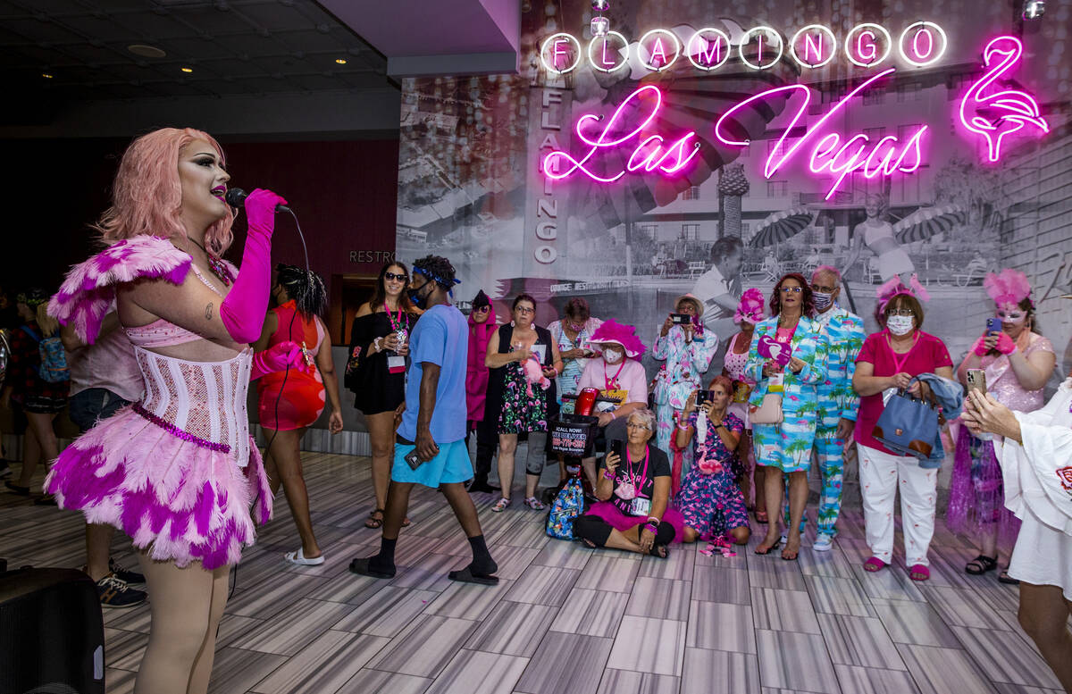 Performer Mary Anne Somers of Denton, Texas, sings for attendees during the 1st Annual Flamingo ...