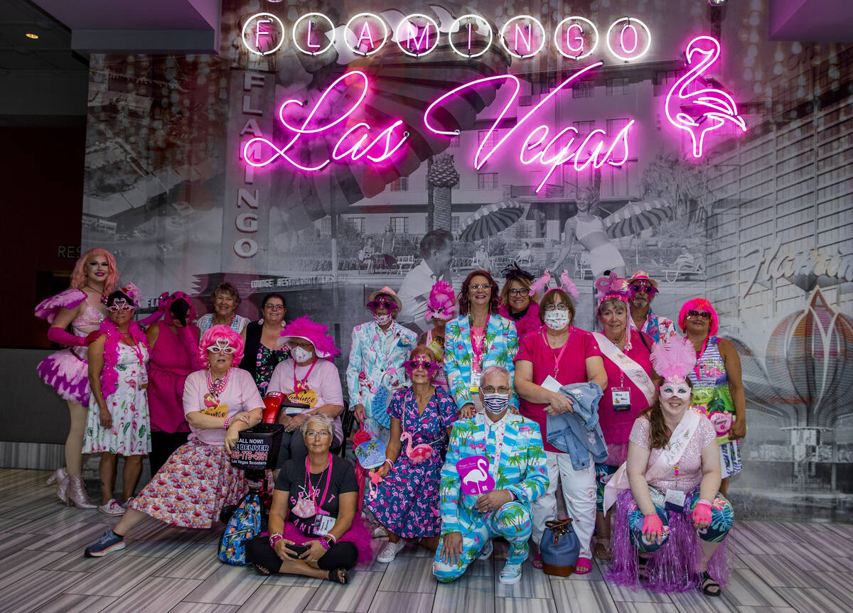 Costume contest competitors gather for a group photo at the 1st Annual Flamingo Fanatics Conven ...