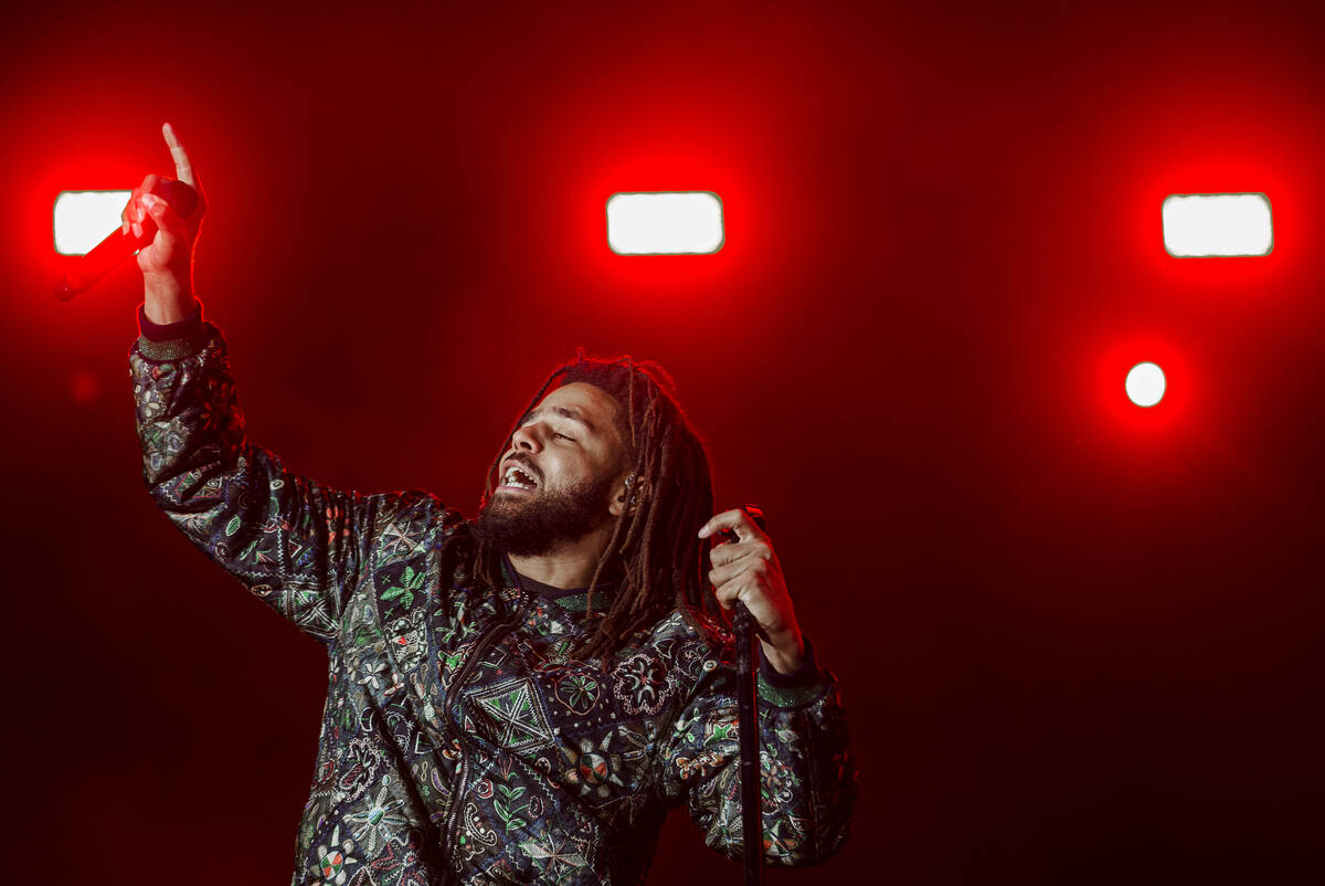 J. Cole performs at the Day N Vegas music festival on Friday, Nov. 1, 2019, at the Las Vegas Fe ...