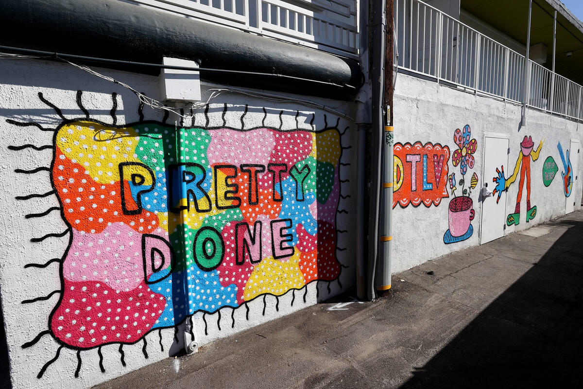 """Part of a mural titled """"Pretty Funk Alley"""" by an artist who goes by the name """"Pretty Done"""" for ..."""