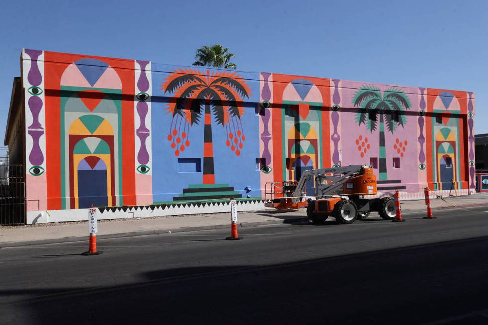 """Part of a mural by Agostino Iacurci titled """"Landscape n¡1"""" for the Life is Beautiful music, ar ..."""