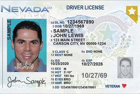 The new driver's license design from the Nevada Department of Motor Vehicles. (Courtesy: Neva ...