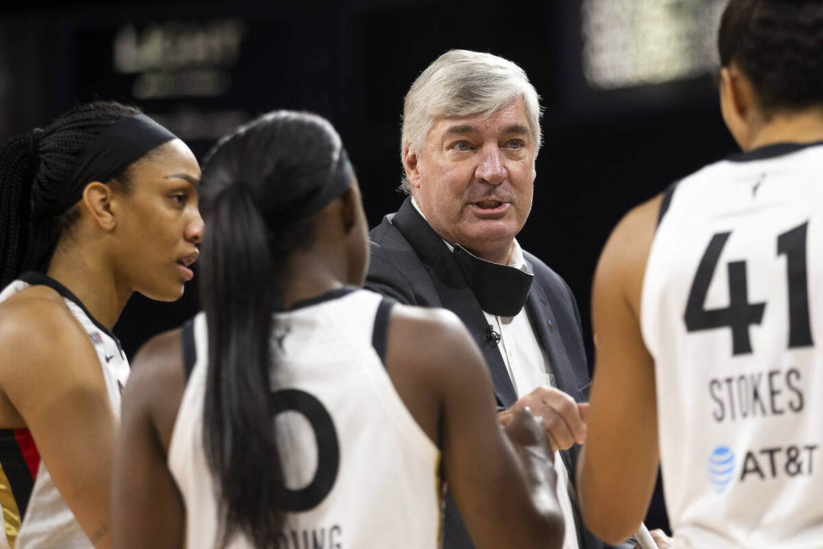 Las Vegas Aces head coach Bill Laimbeer speaks to the team ahead of a WNBA game against the Min ...