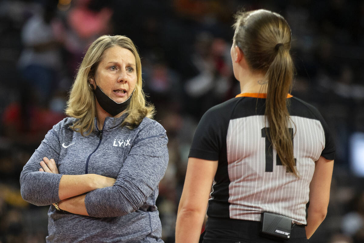Minnesota Lynx head coach Cheryl Reeve has a disagreement with a referee during the first half ...