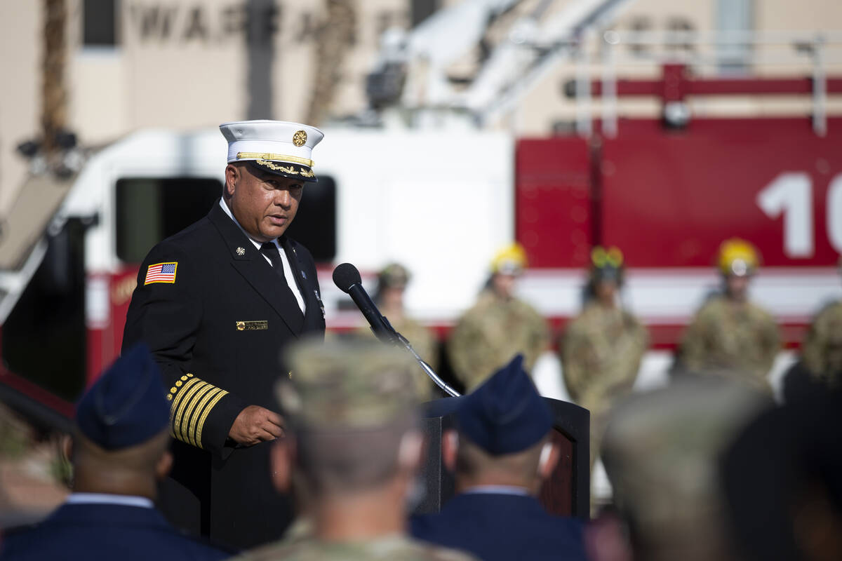 Nellis Air Force Base fire Chief Tony Rabonza narrates the Nellis Fire and Emergency Services 9 ...