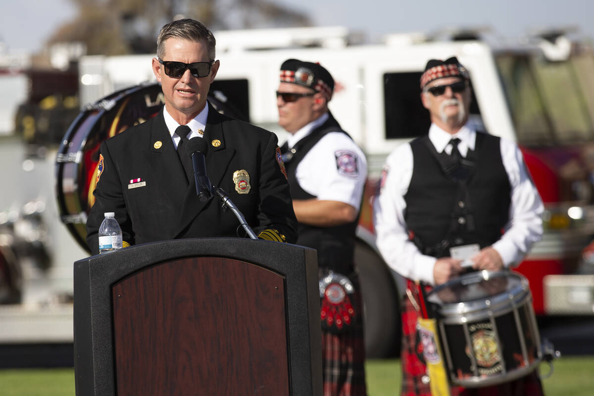 North Las Vegas Fire Department Deputy Chief Gary Stover speaks during the Nellis Fire and Emer ...