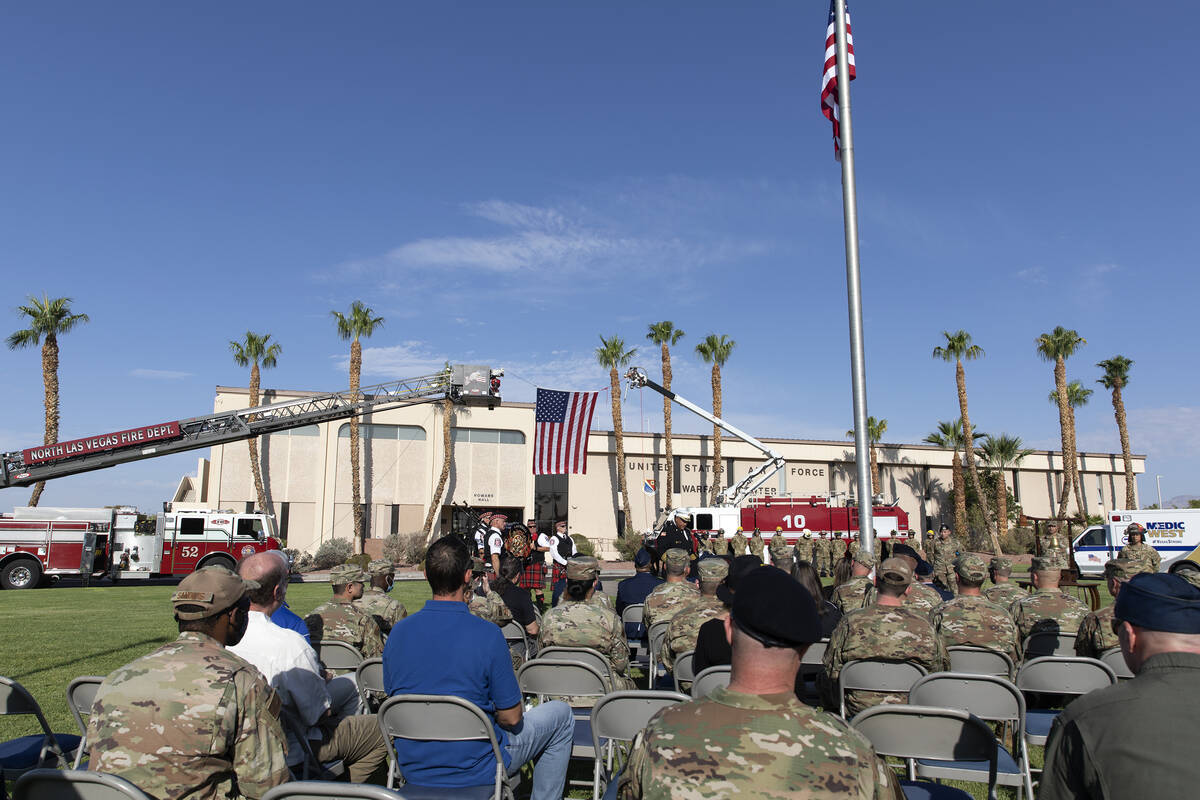 The Nellis Fire and Emergency Services 9/11 Memorial Ceremony takes place at Nellis Air Force B ...