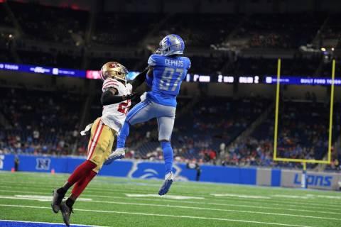 Detroit Lions wide receiver Quintez Cephus (87) catches a touchdown pass as San Francisco 49ers ...