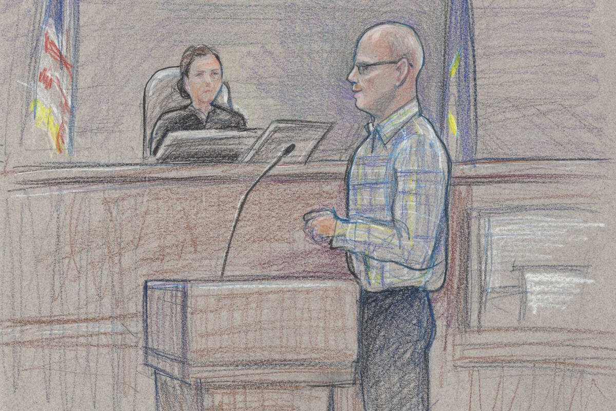 Defendant Todd Engel, representing himself, faces the jury during opening statements as U.S. Di ...