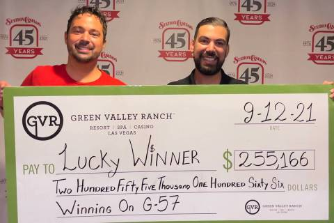 Bingo supervisor Javier, left, and bingo agent Chad present a $255,166 Jumbo Check to an anonym ...