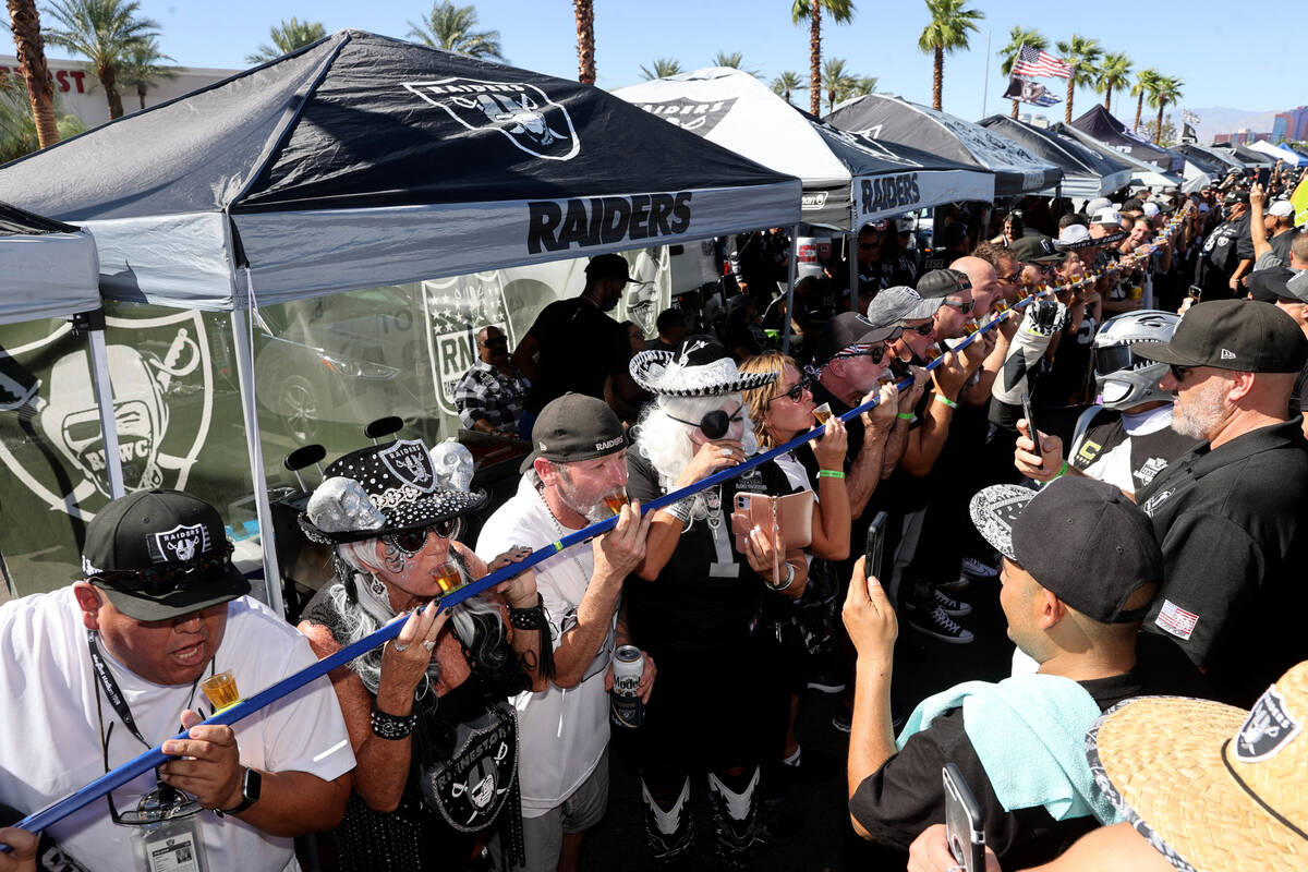"""Fans take a group shot as the Raiders prepare to host the Baltimore Ravens on """"Monday Nigh ..."""