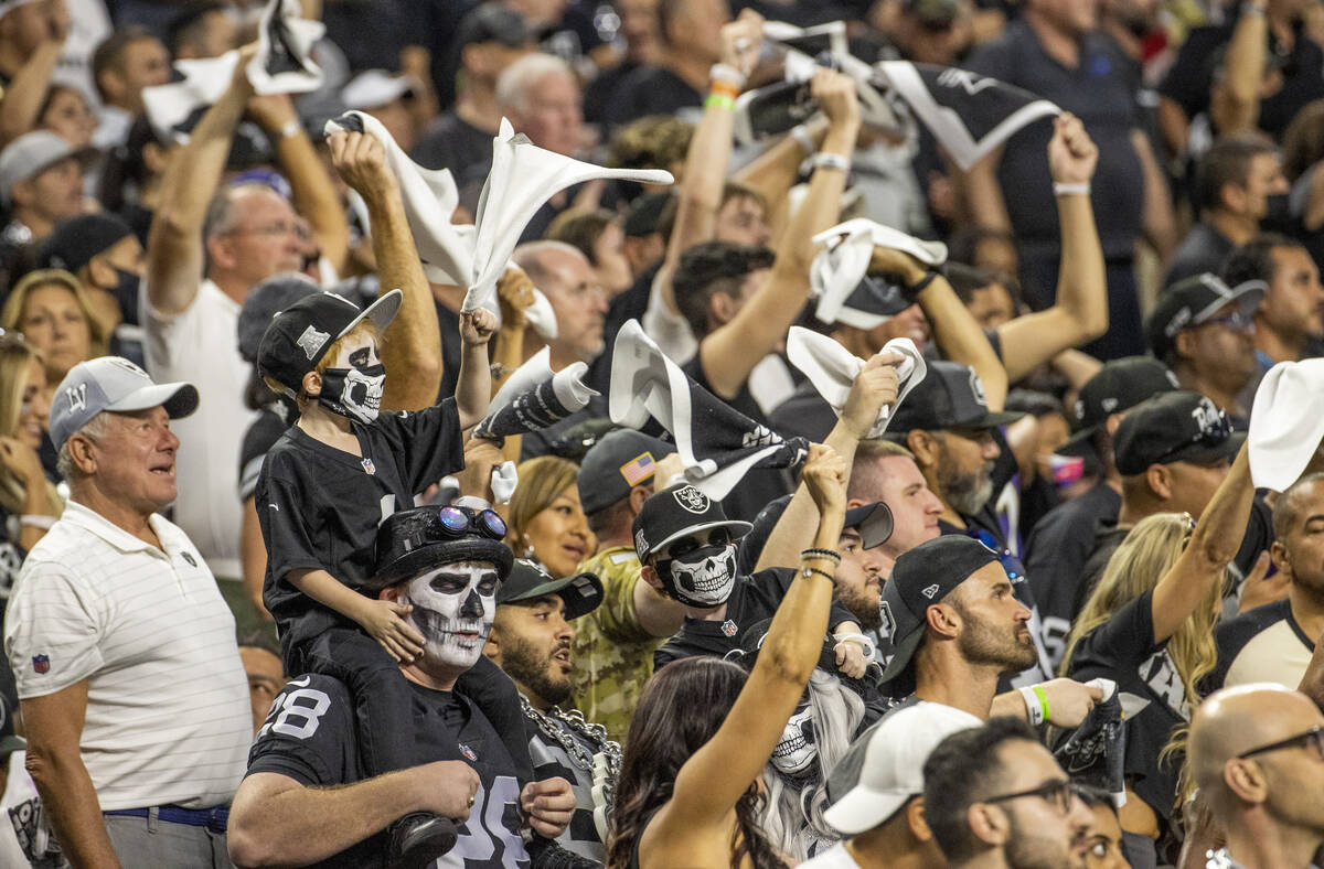 Raiders fans after the score during the second quarter of the Raiders' season-opener against th ...