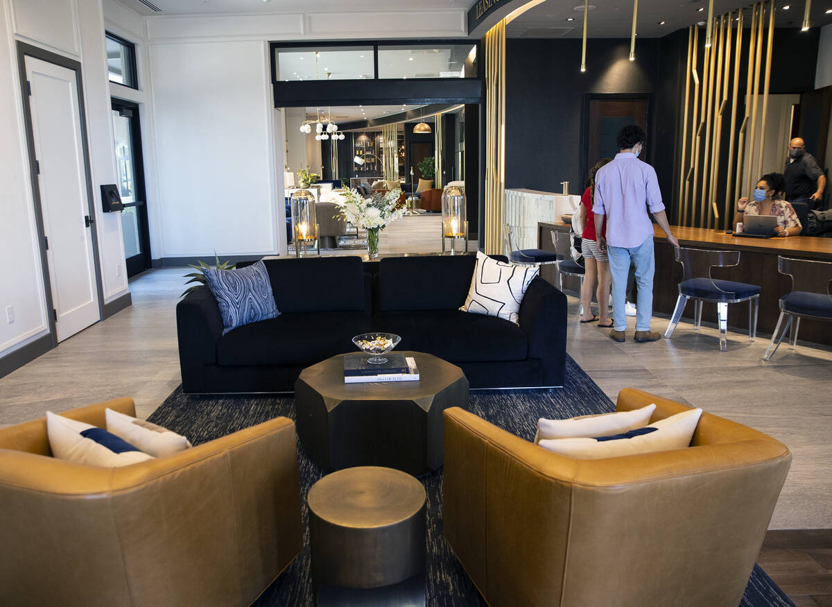 The main lobby at the luxury apartment Auric Symphony Park, the first multifamily residential c ...